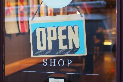 shop sign saying open