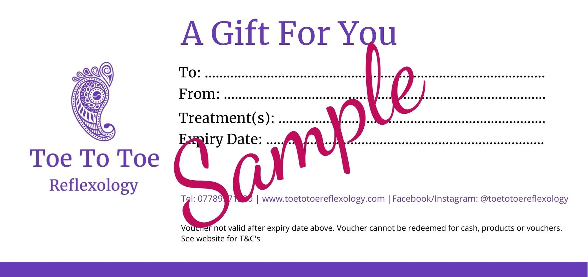 sample gift voucher created for toe to toe reflexology