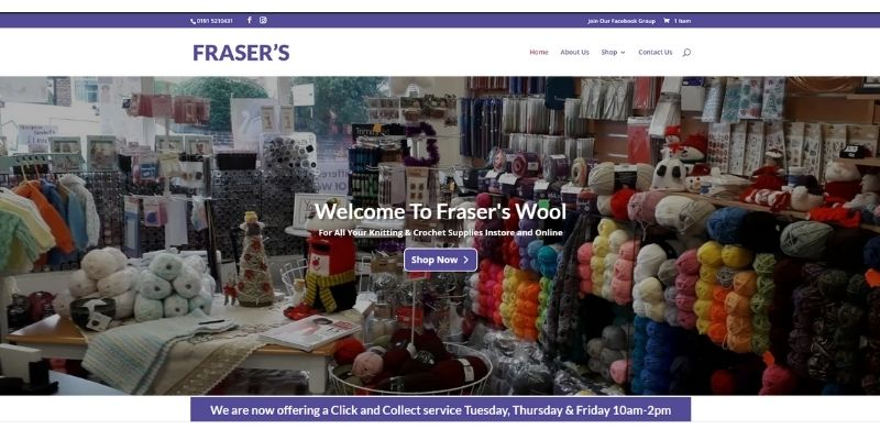 Image of home page of Frasers Wool - website created by Sarah Lynn of Simple Online Solutions